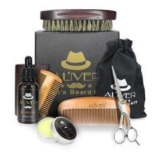 Olive spot beard care tool men's beard repair set Hu ointment comb bristle 6-Piece set