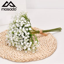 Mosodo Gypsophila Dried Flower Bouquet Artificial Rose Flowers Party Decor Resin Fake Flowers Home Wedding Fall Decorations