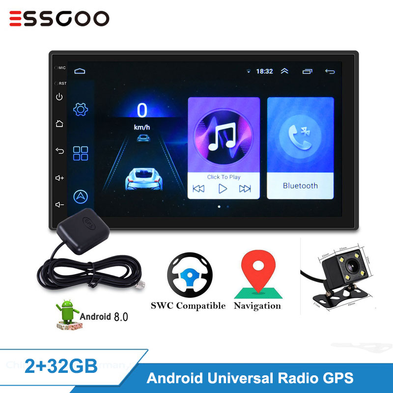 Essgoo <font><b>Android</b></font> 2GB+32GB Car <font><b>Radio</b></font> Autoradio Auto <font><b>Radio</b></font> <font><b>2</b></font> <font><b>Din</b></font> Video Player <font><b>Gps</b></font> Navigation For Nissan For Hyundai Universal Cars image
