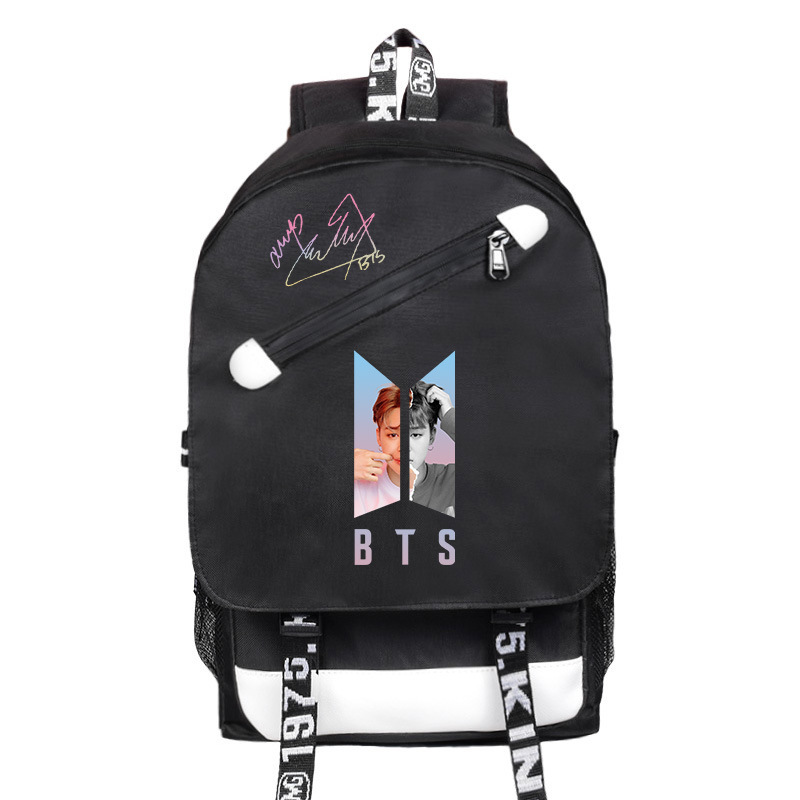 BTS Related Products School Bag Bulletproof Boys USB Chargeable Backpack Sports Casual School Bag Men And Women STUDENT'S Backpa