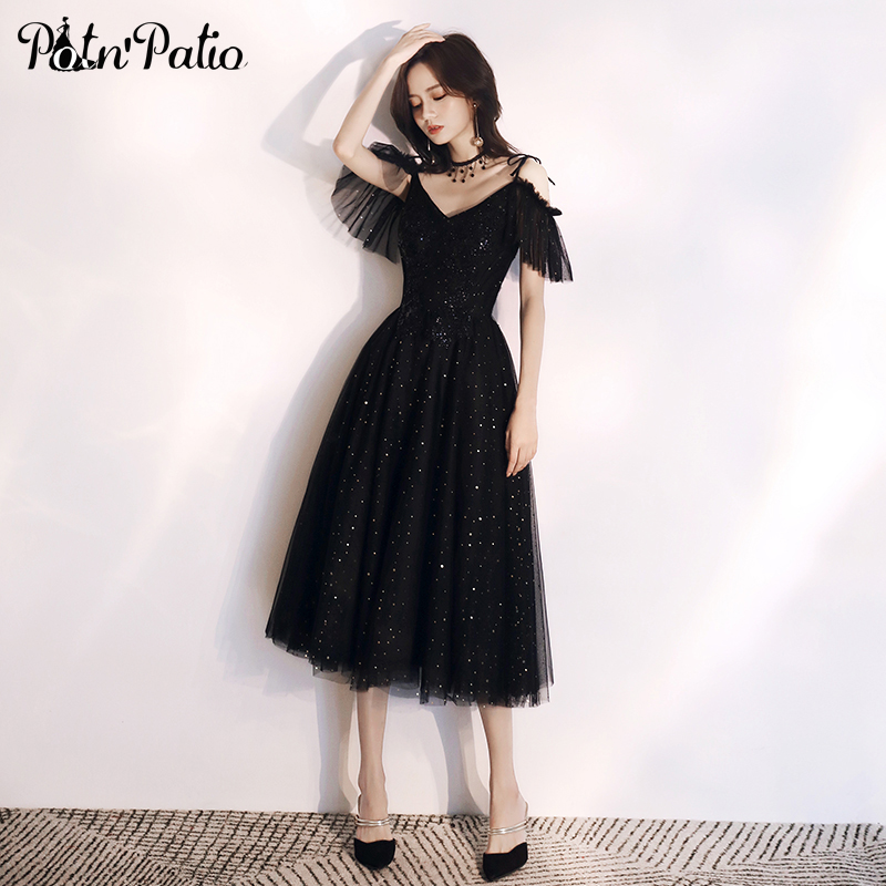 Sexy Black Prom Dresses Long 2019 Spaghetti Straps Tea-length Sequin Tulle Christmas Cocktail Dress Evening Gowns For Women