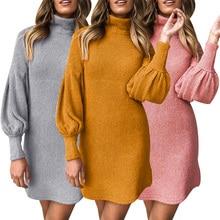 Long Sleeve Turtleneck Club Women Dress Slim Autumn Winter Knitted Elastic Sweater Yellow Gray Pink Casual Mini D30
