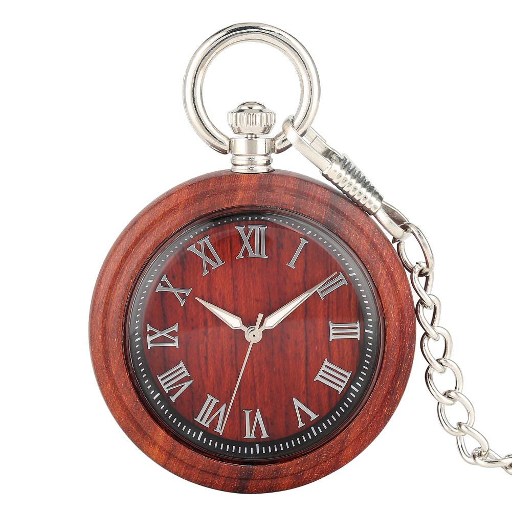 Women's Wooden Pocket Watch Quartz Pendant Watches For Men Thick Chain Pendant Watch Luminous Pointers Lightweight