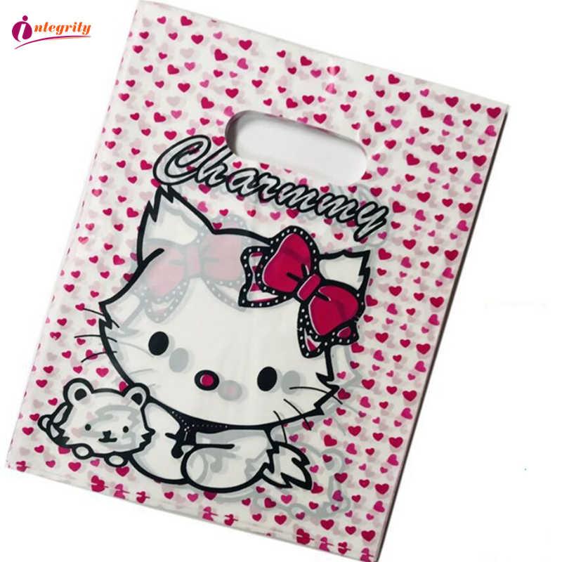 יושרה 15*20 cm/20*25 cm 10pcs תכשיטי פלסטיק חבילה שקיות חתונה מתנות בוטיק מתנות קניות אריזת פלסטיק ידית שקיות