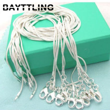 BAYTTLING 925 silver 5pcs/lot 16/18/20/22/24/26/28/30 inch 1MM snake chain necklace For women men fashion jewelry gift wholesale
