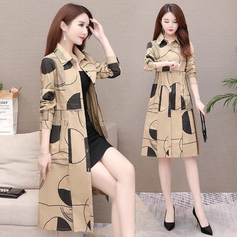 Shirt Windbreaker Female Long Korean 2019 New Slim Casual Large Size Trench Coat Thin Section Spring Autumn Coat Lady Print f184 21