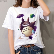 Plus size tops women's T-shirt fashion funny Totoro print T shirt summer Harajuku Streetwear O-Neck Short sleeve Tshirt clothing