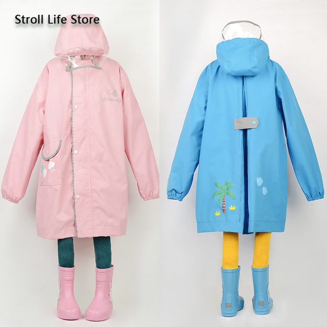 Korea Yellow Kids Raincoat Girl Long Rain Coat Poncho Waterproof Suit Cover Long Rain Jacket Kids Windbreaker Impermeable Gift