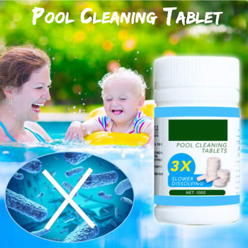 100Pcs/Bottle Pool Cleaning Effervescent Chlorine Tablets Cage Disinfectant Swimming Pool Clarifier Multifunctional Cleaner practical pool cleaning effervescent tablets disinfectant effervescent pool cleaning tablet cage