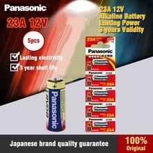 5 pçs original panasonic 23a 12v bateria alcalina seca 23ae 21/23 a23 23ga mn21 para campainha, alarme de carro, walkman, controle remoto do carro