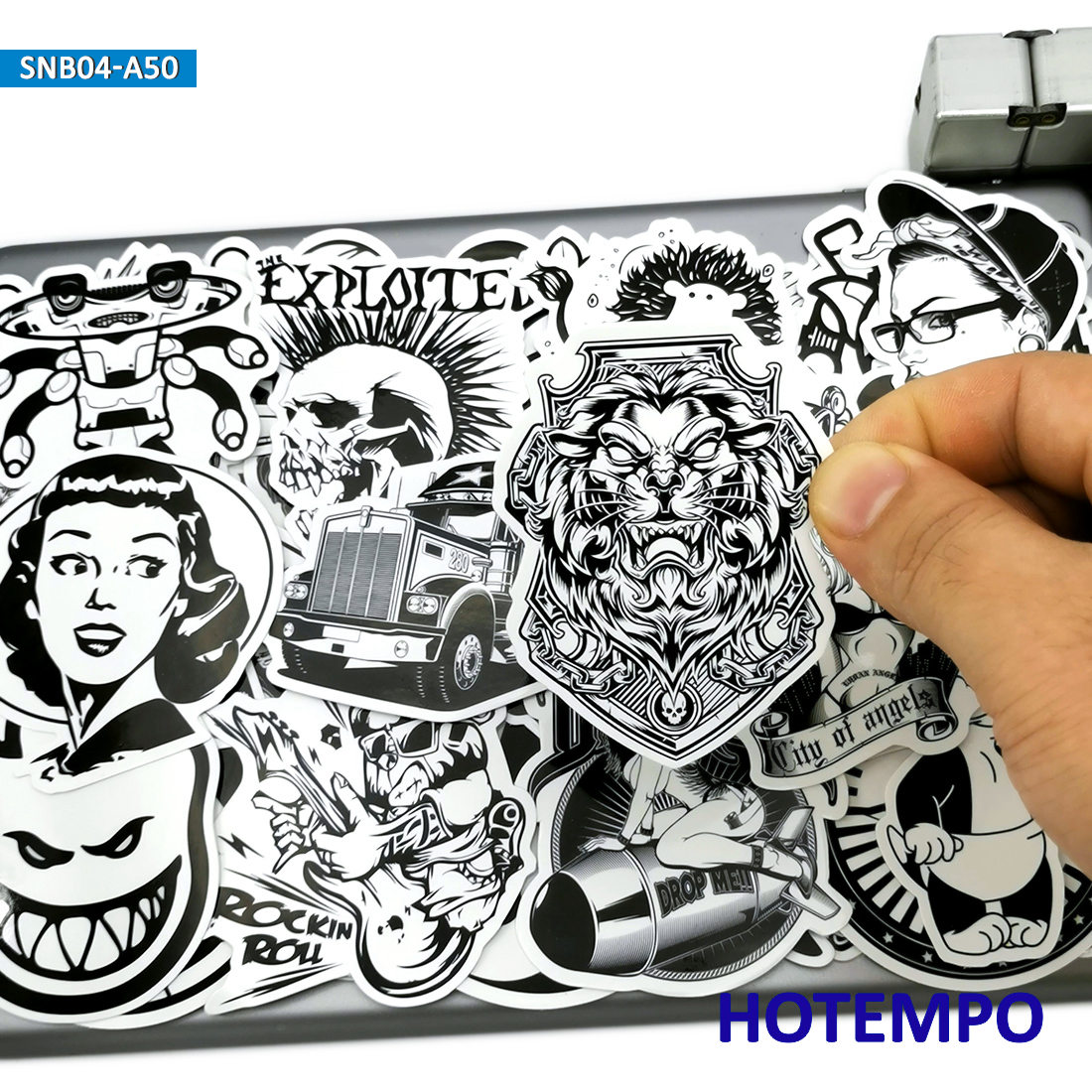 50pcs Black And White Graffiti Mix Funny Fashion Stickers For Mobile Phone Laptop Luggage Skateboard Bike Car Art Style Stickers