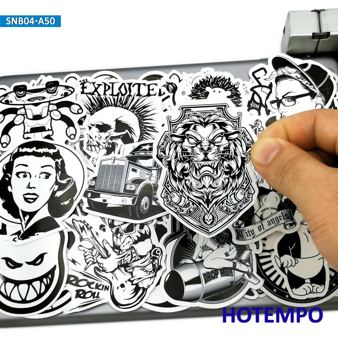 50pcs Black And White Graffiti Mix Funny Fashion Stickers For Mobile Phone Laptop Luggage Skateboard Bike Car Art Style Stickers