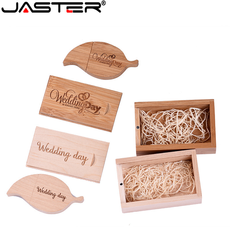 JASTER Pendrive Promotion Wooden Leaf Form Shape U Disk USB + BOX USB 2.0 4 Gb / 8 Gb / 16 Gb / 32 Gb / 64 Gb Flash Drive