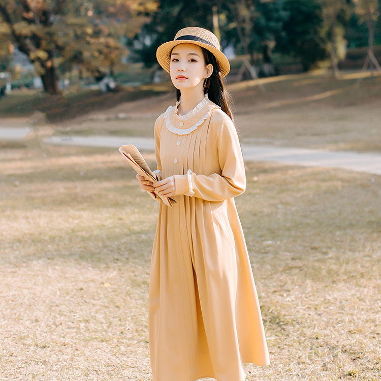 2019 Spring Clothing New Style Women's Literature And Art French Retro Sweet Lace Pleated Mid-length Dress