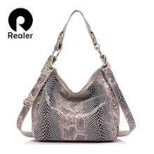 REALER woman handbags genuine leather totes female classic serpentine prints shoulder crossbody bags ladies school messenger bag - DISCOUNT ITEM  61% OFF All Category