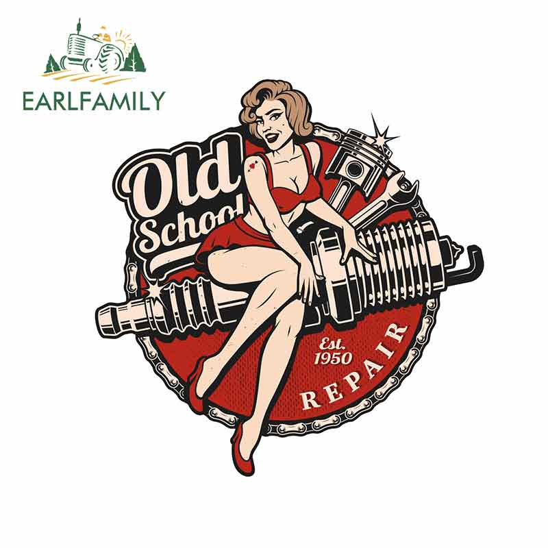 EARLFAMILY 13cm X 12.7cm Retro Pinup Girl Locker Toolbox Stickers Laptop Car Truck Bike Old School Car Stickers