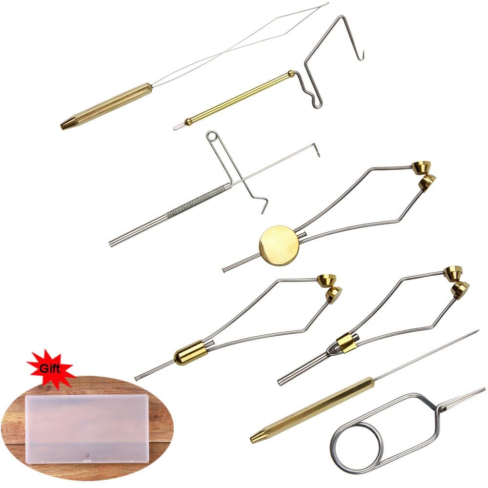 Fly Tying Tool Kit With Hackle Plier Dubbing Needle Threader Holder Whip Finisher Handle Bullet Bobbin Holder