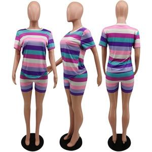 Image 5 - HAOYUAN Regenbogen Gestreiften Plus Größe Zwei Stück Set Trainingsanzug Frauen Sexy Top + Biker Shorts Schweiß Anzüge 2 Stück Outfits passenden Sets