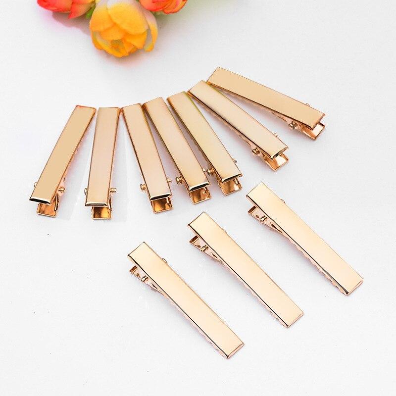 Grampos de Cabelo Hairpins para Arcos Ferramentas de Cabeleireiro Engrossar Ouro Flat Metal Único Dente Jacaré Barrette Faça Você Mesmo Acessórios 100 x