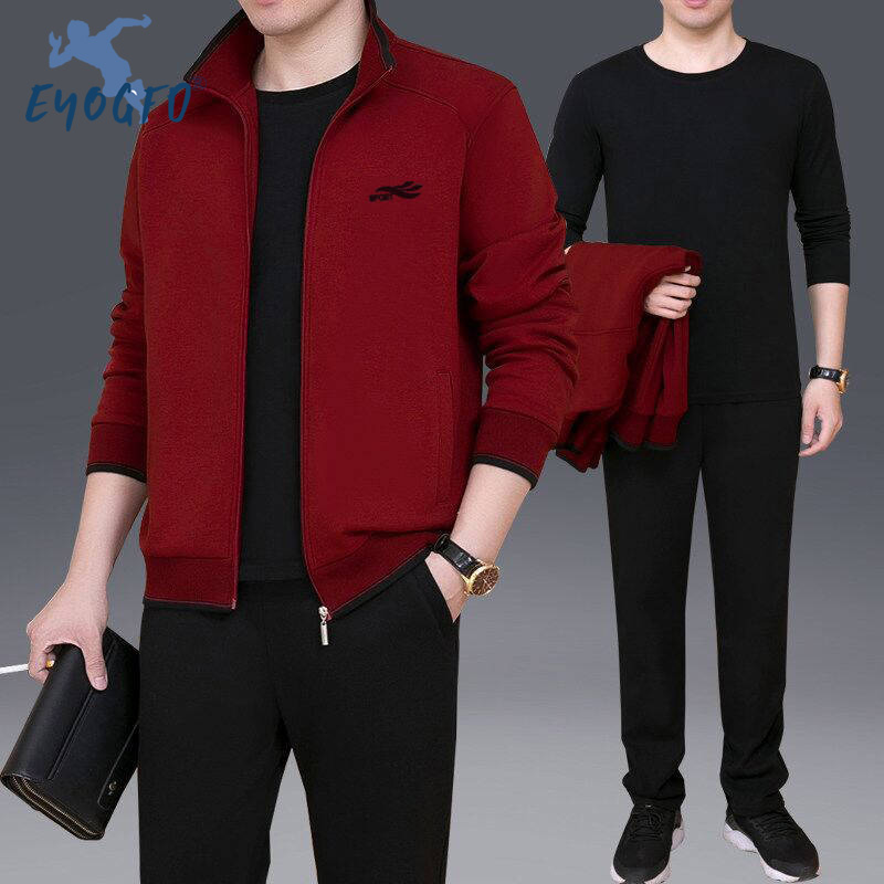2019 Autumn New Men's Comprehensive Training Sports Set Fitness Running Sets Sportswear Jacket + Pants 3-piece Men's Sport Suit