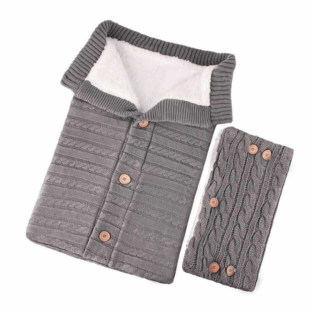 2 piezas recién nacido bolsas de dormir con guantes de punto de bebé invierno cálido saco de dormir manta bebé botón Swaddle Wrap saco para cochecito