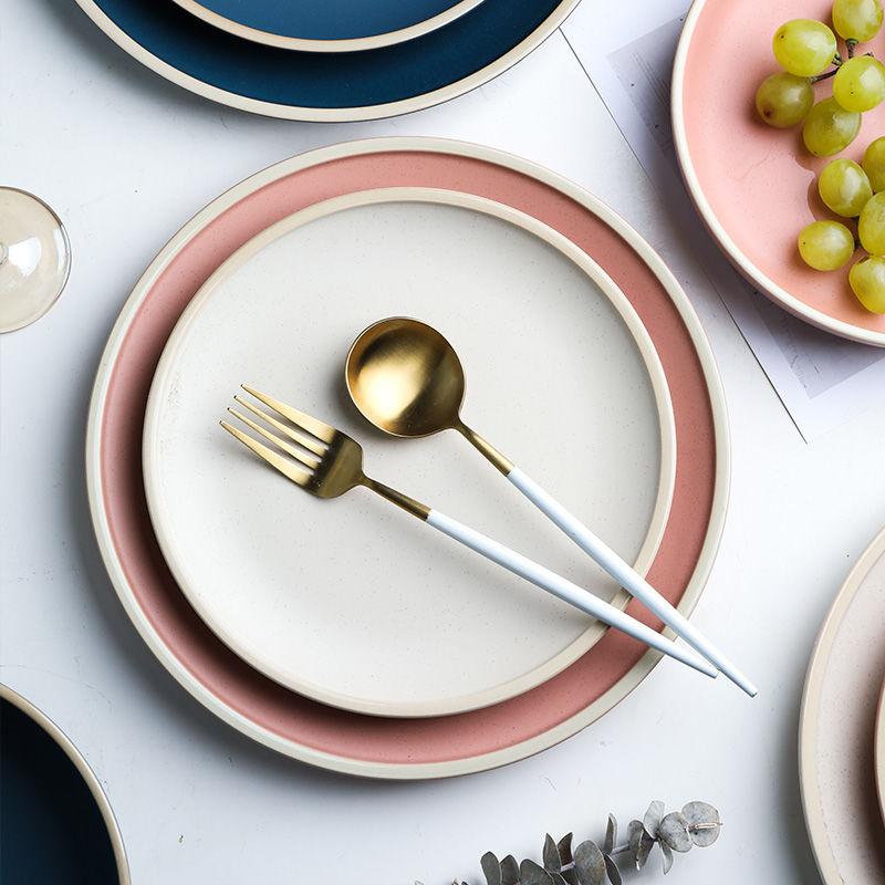 Morandi одноцветная матовая керамическая кухонная посуда, домашняя тарелка для стейка, креативный десерт, большая тарелка для завтрака, торт|Блюдца и тарелки| | АлиЭкспресс