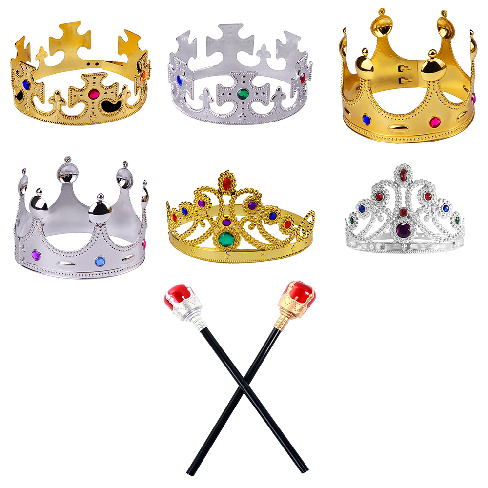Kids Toy Crown Happy Birthday Party Decoration Royal King Queen Plastic Crown Prince Costume Accessory