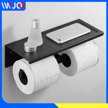 все цены на Toilet Paper Holder Black with Shelf Stainless Steel Bathroom Paper Towel Holder Wall Mounted Double Roll Paper Holder Hanger онлайн