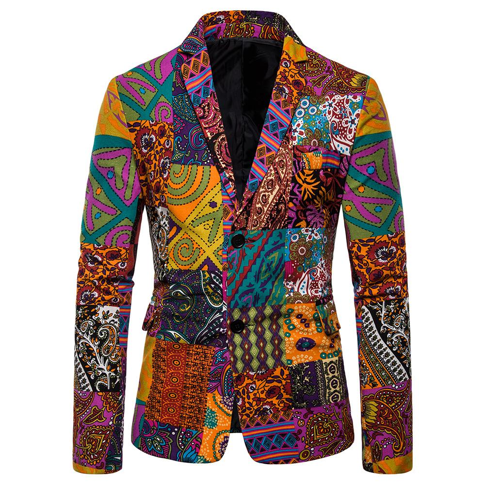 Floral Printed Designs Men's Blazer Jacket Cotton And Linen Casual Slim Fit Tuxedos Blazers Men Suits New