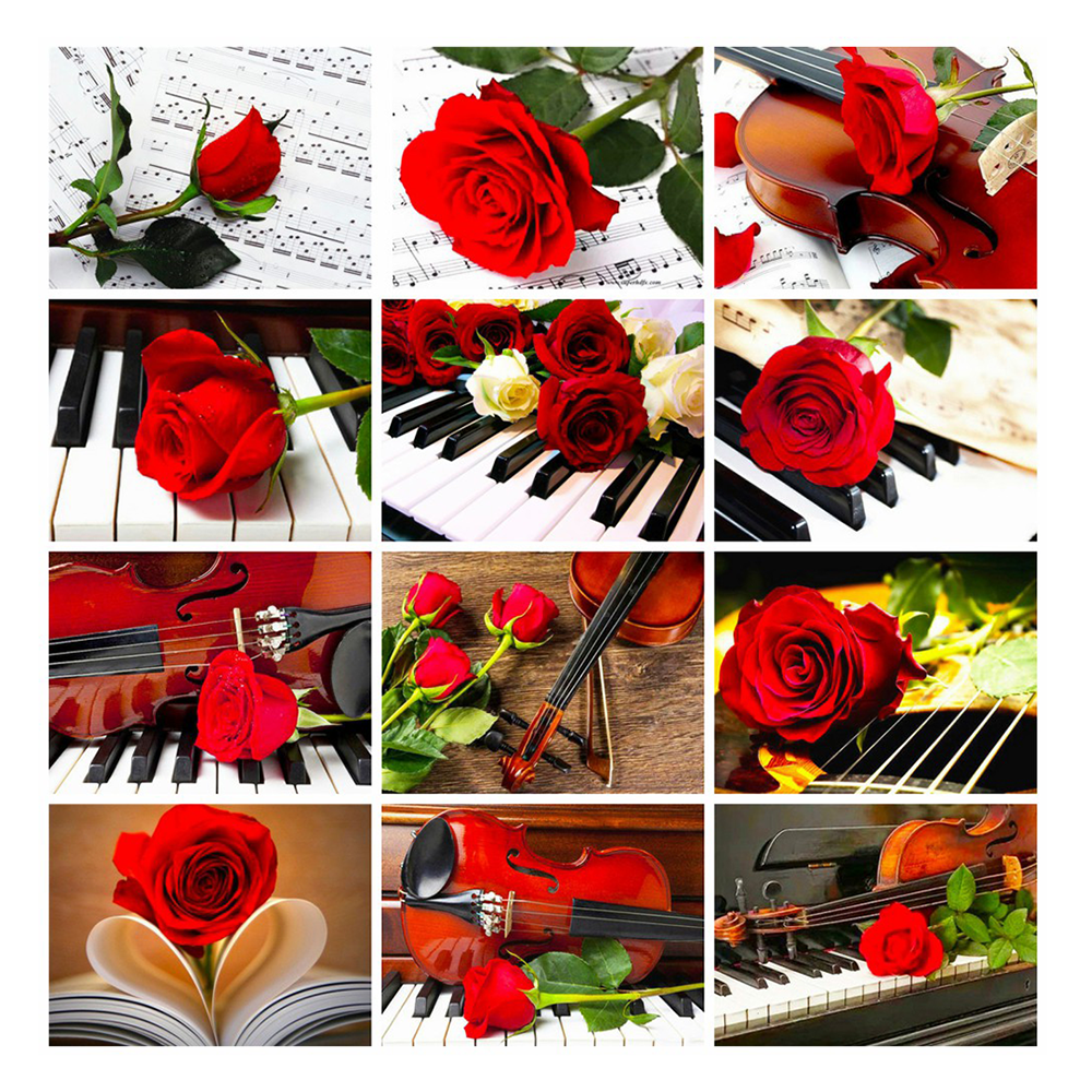 LZAIQIZG Full Drill Square Diamond Painting Kits Colorful Flower Mosaic Red Rose Diamond Art Embroidery Piano Wall Stickers