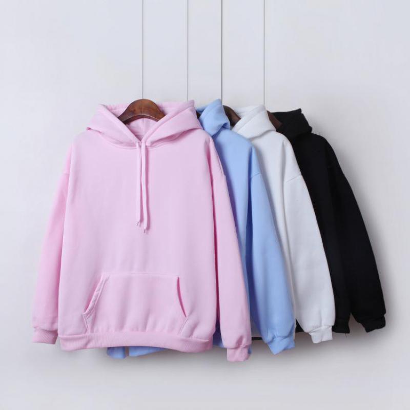 Yan Qing Huan New Fashion Solid Color Plus Velvet Padded Hooded Sweatshirt Top Long Sleeve Winter Warm Coat Women's Hoodies
