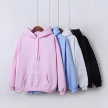 Yan Qing Huan New Fashion Solid Color Plus Velvet Padded Hooded Sweatshirt Top Long Sleeve Winter Warm Coat Womens Hoodies