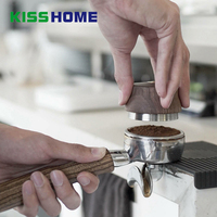 One/Four Angled Slopes Coffee Tamper Wooden Handle 58.35mm Stainless Steel Base Powder Hammer Barista Distribution Accessories
