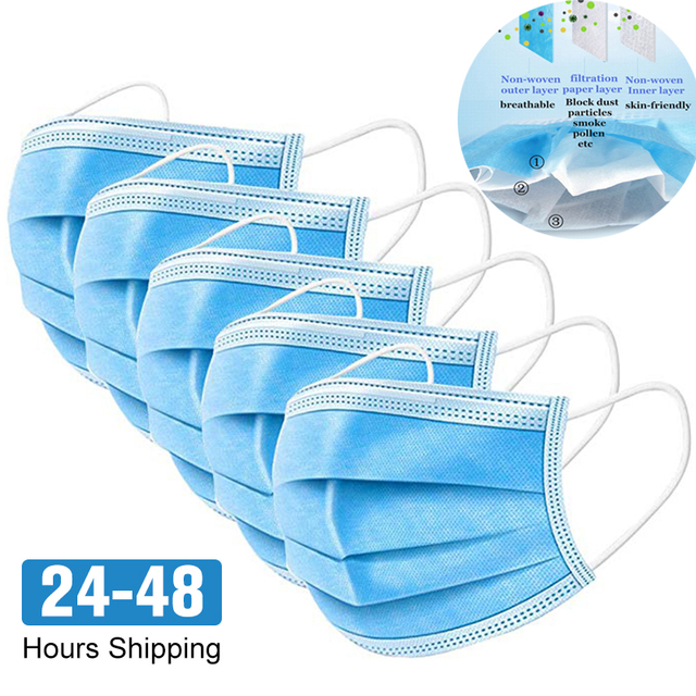 100pcs Protective face Masks Disposable 3 ply mascara Anti Dust Flu Windproof Bacteria Breathable Mouth Masks Earloop for Adults