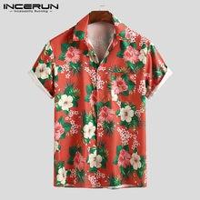 INCERUN Männer Hawaiian Shirt Blume Drucken 2021 Atmungsaktive Streetwear Kurzarm Bluse Sommer Revers Casual Männer Strand Shirts 7