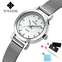 Wwoor роскошные женские часы модные простые с сетчатым ремешком