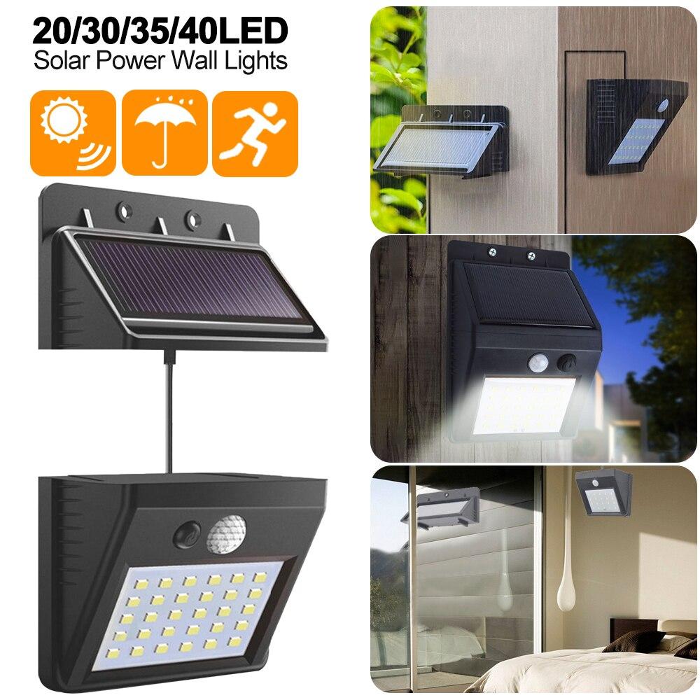 Junejour Separable Solar Panel Outdoor LED Wall Lamp Motion Sensor/Night Sensor Solar Light For Garden Night Light #1108