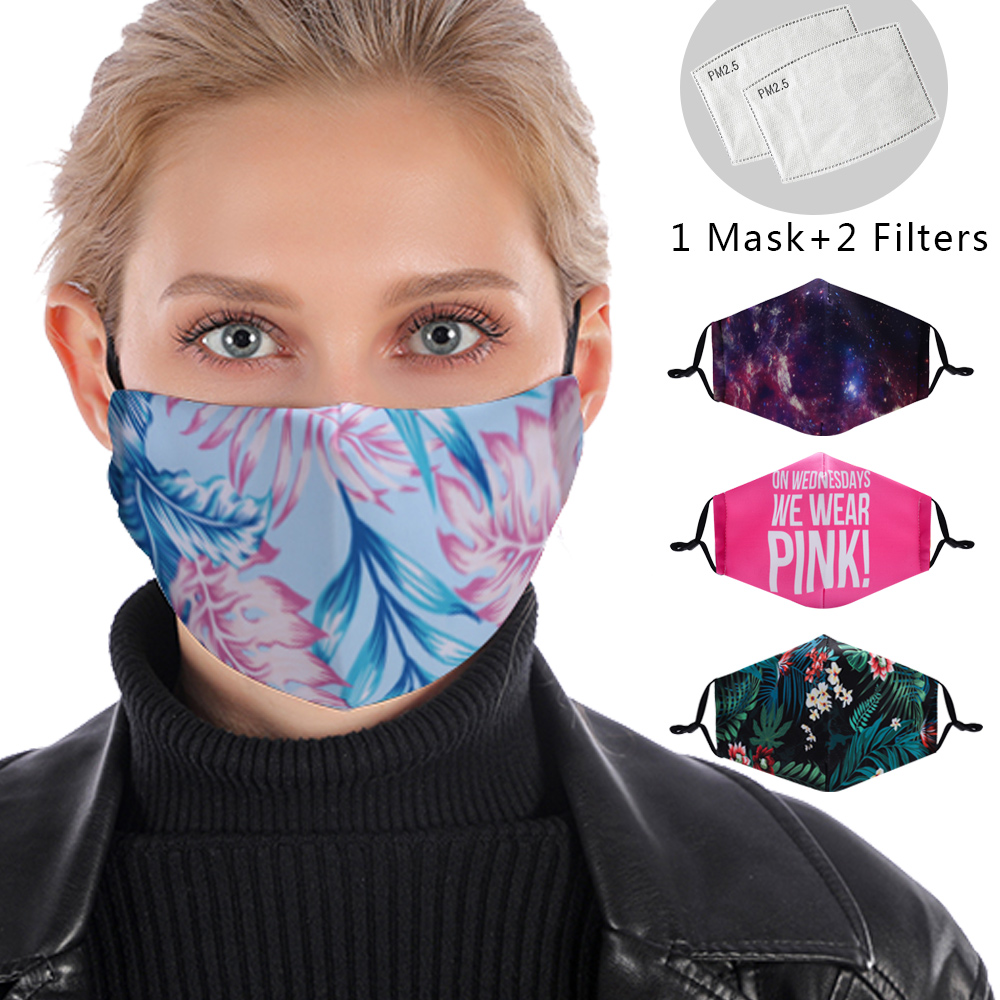 Stylish 3D Reusable Facemask Flower Washable Mask PM2.5 Filter Mask Anti Dust Windproof Mouth-muffle Cotton Anti Flu Mouth Mask