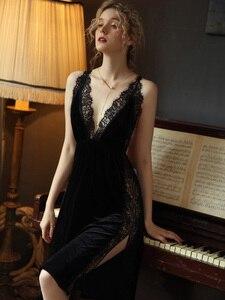 Image 5 - Sexy Nightgown Women Sleepwear Fall/winter Gold Velvet Beauty Back Suspender Dress Lace Side Split Temptation Hot Nightdress