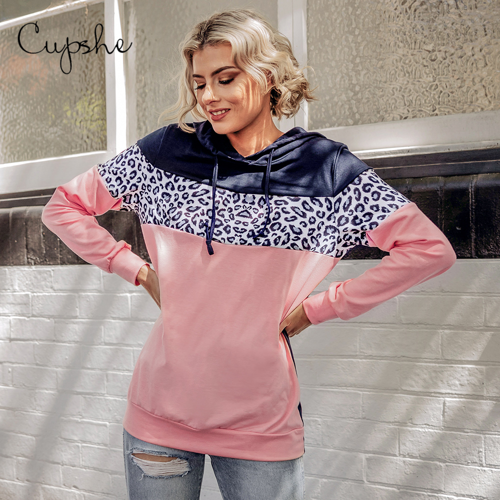 CUPSHE Leopard Colorblock Hoodie Women Long Sleeve Sweatshirt Pullovers Tops 2020 Spring Autumn Female Sportswears Streetwears
