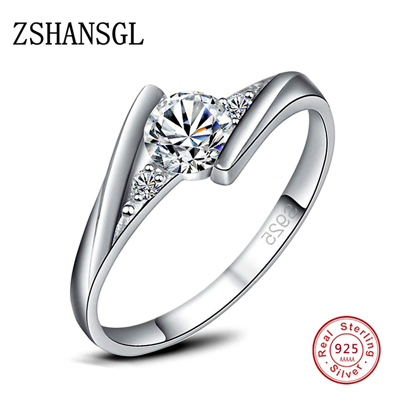 Cute Female Small Zircon Stone Ring Silver color Wedding Jewelry Promise Engagement Rings For Women 2019 Valentine