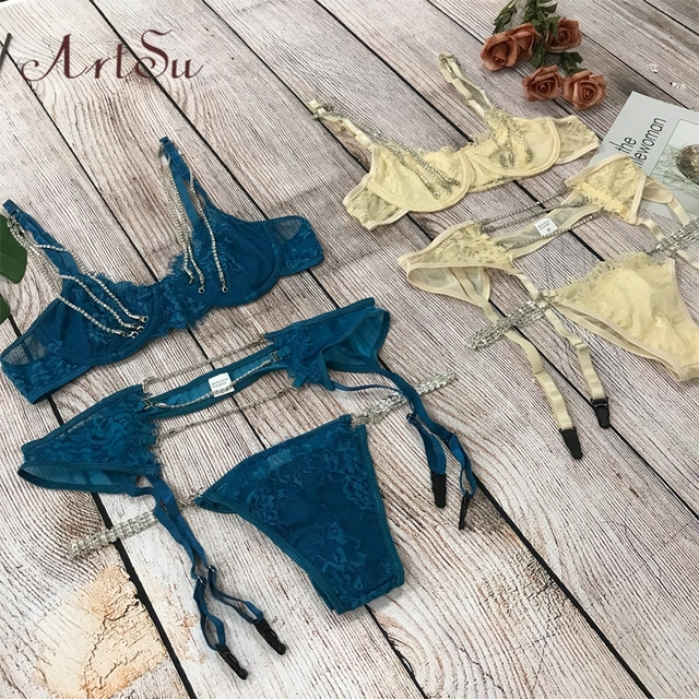 ArtSu Sparkle Chain Push Up Bra And Panty Set Women Bodycon Intimates Lingerie Set Underwear Bralette Lace Brief Set ASSU60169 2