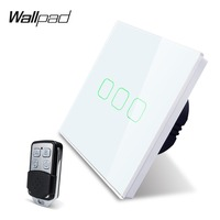K3 3 Gang Remote Wall Electrical Touch Light Switch 1 Way 2 Way Power Switch 4 Colors Tempered Glass Panel RF 433.92 MHz