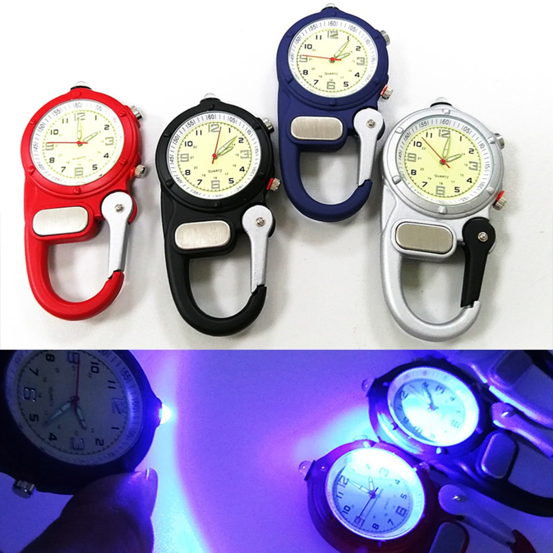 New Portable Carabiner Watch Vintage Mini Microlight Chronograph Watch Unisex Sport Pocket Watch Clock For Doctors Hikers