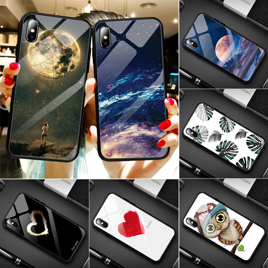 Image 2 - luxury painted tempered glass case for iphone 11 pro max x xr xs 8  7 6 6s universe starry flamingo moon flower pattern soft edgeFitted  Cases