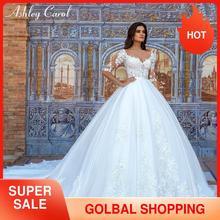 Ashley Carol Lace Princess Wedding Dress 2020 Ball Gown Elegant Beading Appliques Bridal Vintage Bride Gowns Vestido De Noiva