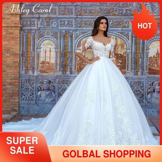 Ashley Carol Spitze Prinzessin Hochzeit Kleid 2020 Ballkleid Elegante Perlen Appliques Braut Vintage Braut Kleider Vestido De Noiva