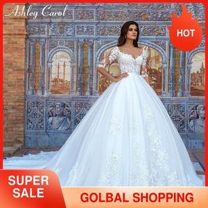 Image 1 - Ashley carol laço princesa vestido de casamento 2020 vestido de baile elegante miçangas apliques nupcial do vintage vestidos de noiva