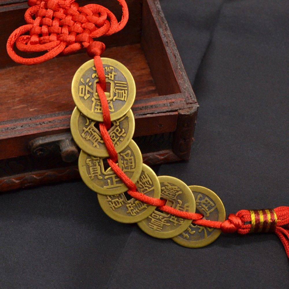 Ancient Coin Set Antique Fortune Money Coin Luck Wealth Success 6 Copper Coins Chinese Knot Red Rope Feng Shui Lucky Home Decor