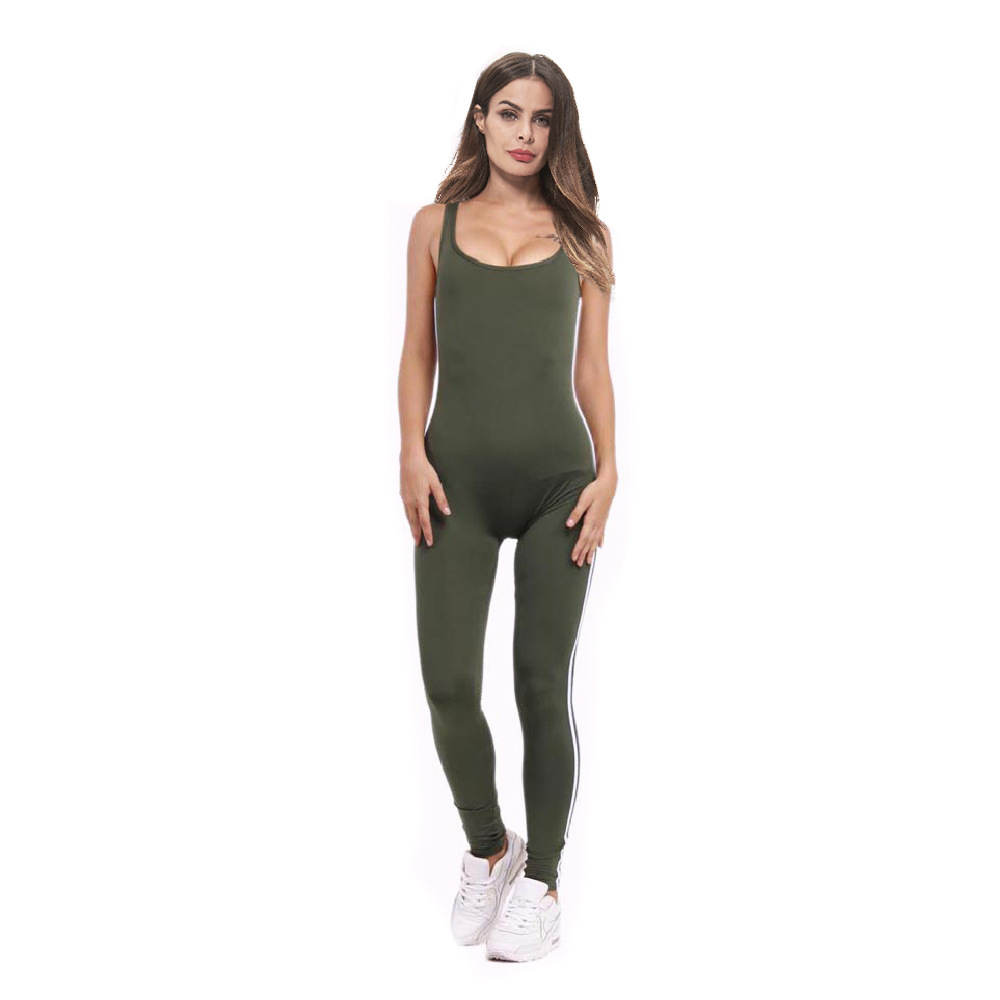 Europe And America Hot Selling Summer Vest Backless Onesie Women's Large Size Sports One-piece Contrast Color Yoga Clothes